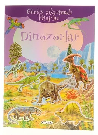 Çiçek Yayıncılık Gümüş Çıkartmalı Kitaplar-Dinozorlar Renkli